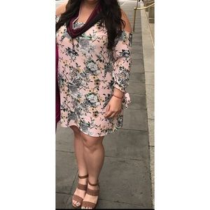 Pink Floral Cold Shoulder Dress